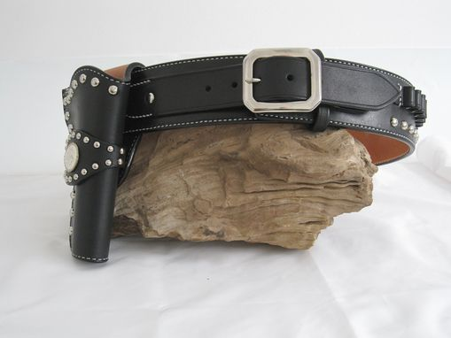 Custom Made Black Leather Belt And Holster With Chrome Spots