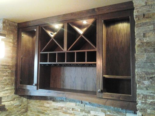 Custom Made Walnut Bar And Cabinet Unit