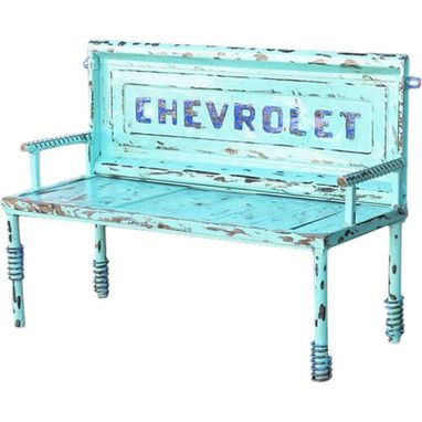 Custom Made Outdoor Furniture, Upcycled Garden Decor Bench, Chevy Tailgate Truck Bench