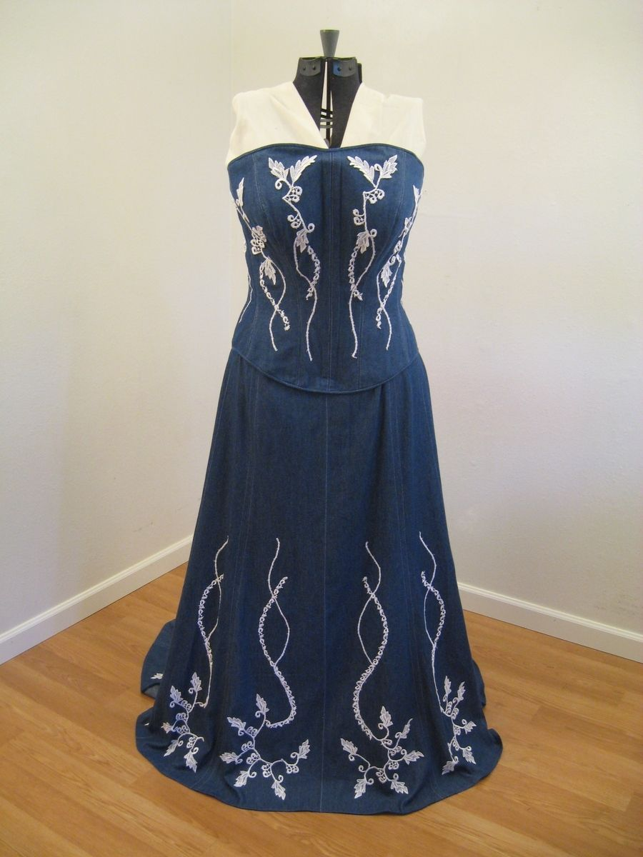 Handmade Denim And Lace Corset Wedding Dress by Hourglass Attire