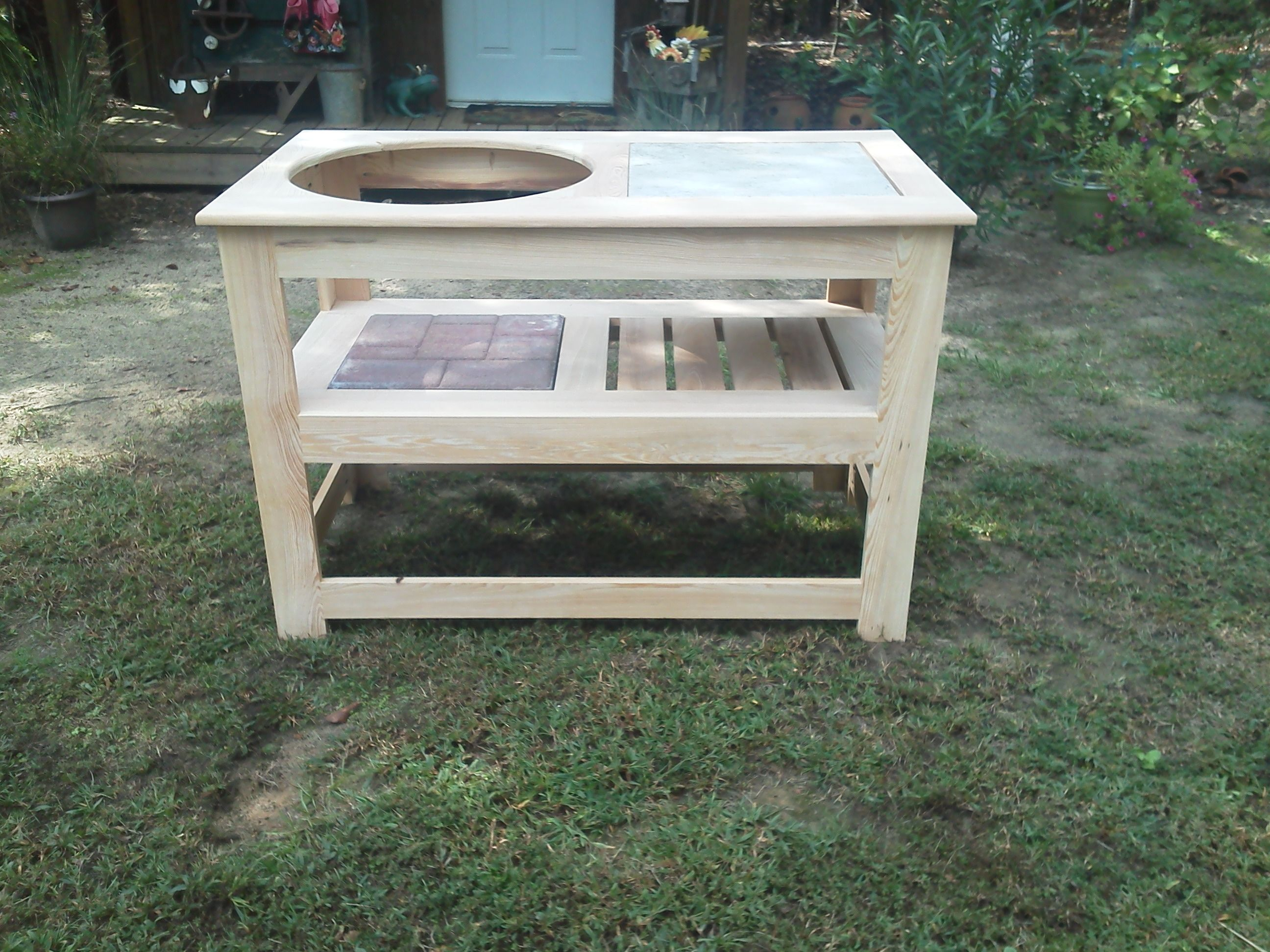 Handmade Indy Dell Grill Table For Big Green Egg, Primo