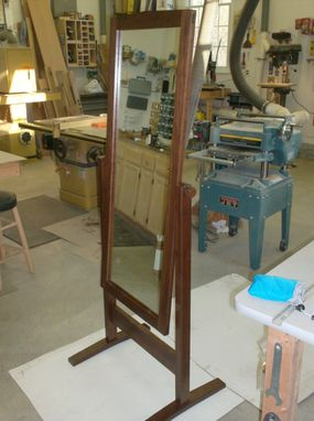 Custom Made Walnut Cheval Dressing Mirror