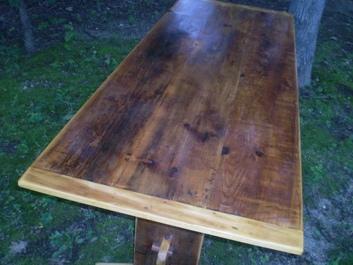 Custom Made Reclaimed Pine Trestle Farmers Table / Dining Table