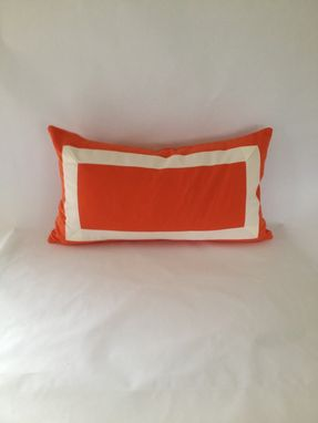 Custom Made Ribbon Embellishment Orange Pillow Cover
