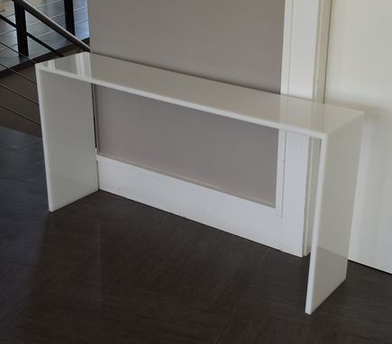 "Custom Made Straight Edge Console Table - In Color Or Clear From 3/4"" Thick Up To 1.5"" Thick"