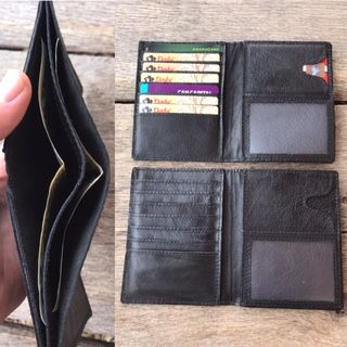 Custom Made Black Or Brown Men's Leather Bifold Wallet Traveler Credit Card Divider