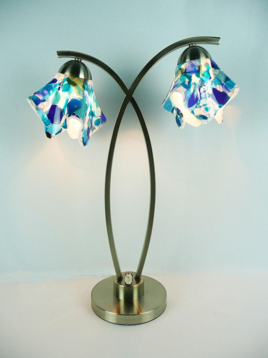 Hand Crafted Lamp Fused Glass Double Shade By Copper