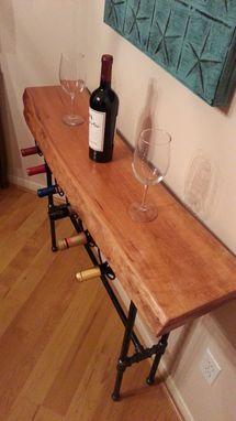 Buy A Hand Made Live Edge Cherry Wood Slab Wine Rack Table