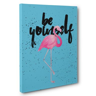 Custom Made Flamingo Be Yourself Canvas Wall Art
