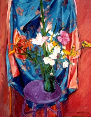 Custom Made Painting:  Silk Robe And Flowers By Maggie Schmidt