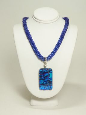 Custom Made Royal Blue Kumihimo Necklace With Dichroic Glass Pendant