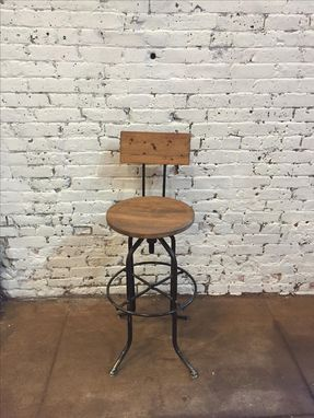 Custom Made Swivel Bar Stool With Back, Rustic Stool