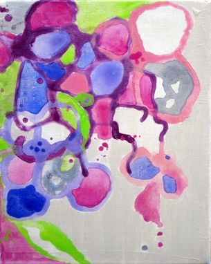 "Custom Made Original Abstract Flowers Painting 8""X10"" Purple Pink Green Cream"