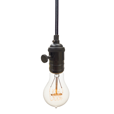 Custom Made Bare Bulb & Cloth Cord Pendant Light- Black