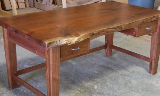 Custom Made Walnut Contemporary Slab Style Desk Live Edge