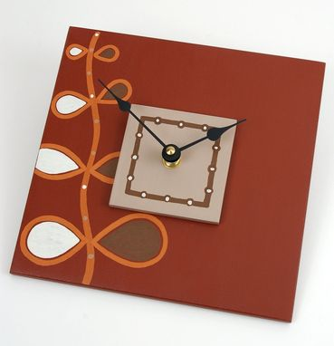 Custom Made Contemporary Clock In Barn Red And Pumpkin Orange - Rising Song - 7.5 X 7.5 Square Wall Clock