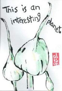 Custom Made This Is An Interesting Planet (Japanese-Style Etegami Watercolor)