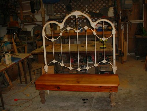 Custom Made Brass & Iron Foundry Headboard Bench, Wide Board Cypress Seat!!