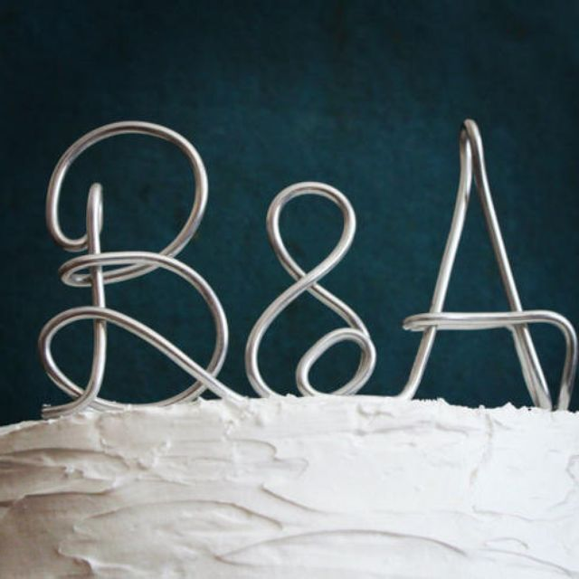 Custom Monogram Or Initials Metal Wedding Cake Topper By Amber Weaver