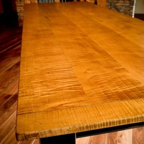 10  Tiger Maple Dining TableTurned Leg Dining Tables   CustomMade com. Maple Wood Dining Room Furniture. Home Design Ideas