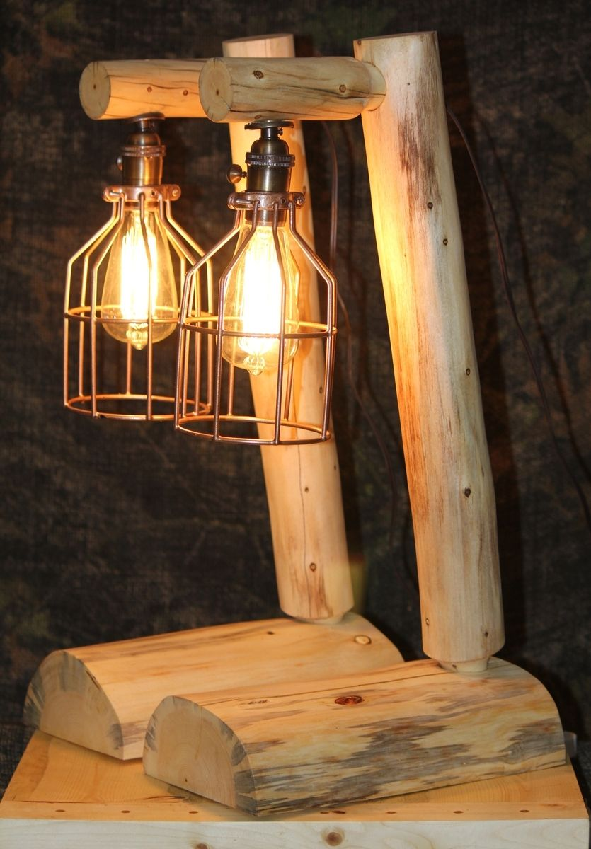 Custom rustic log lamps by the rustic woodshop Log cabin chandelier