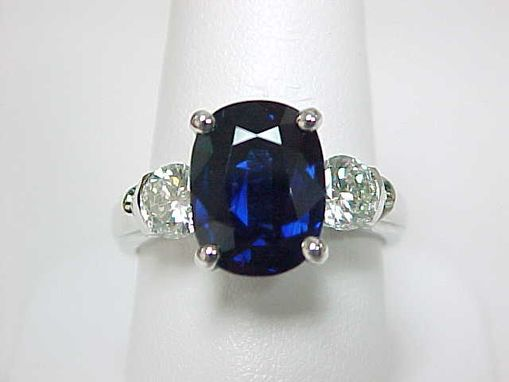 Custom Made Sapphire And Diamond Three Stone Ring