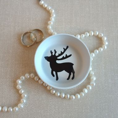 Custom Made Ring Holder, Jewelry Dish, White And Brown, Baby Deer, Reindeer