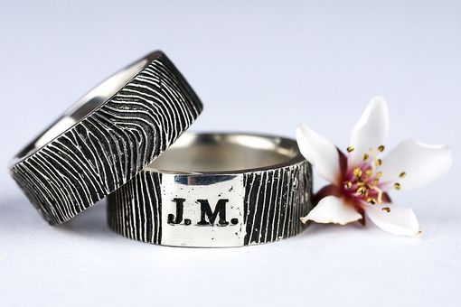 Custom Made Custom Fingerprint Ring Wedding Band Personalized Sterling Silver Jewelry