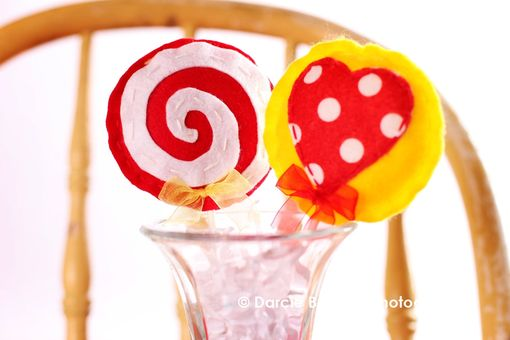 "Custom Made Two Pink, Red, And Yellow Felt Lollipops ""Strawberry Shortcake''"
