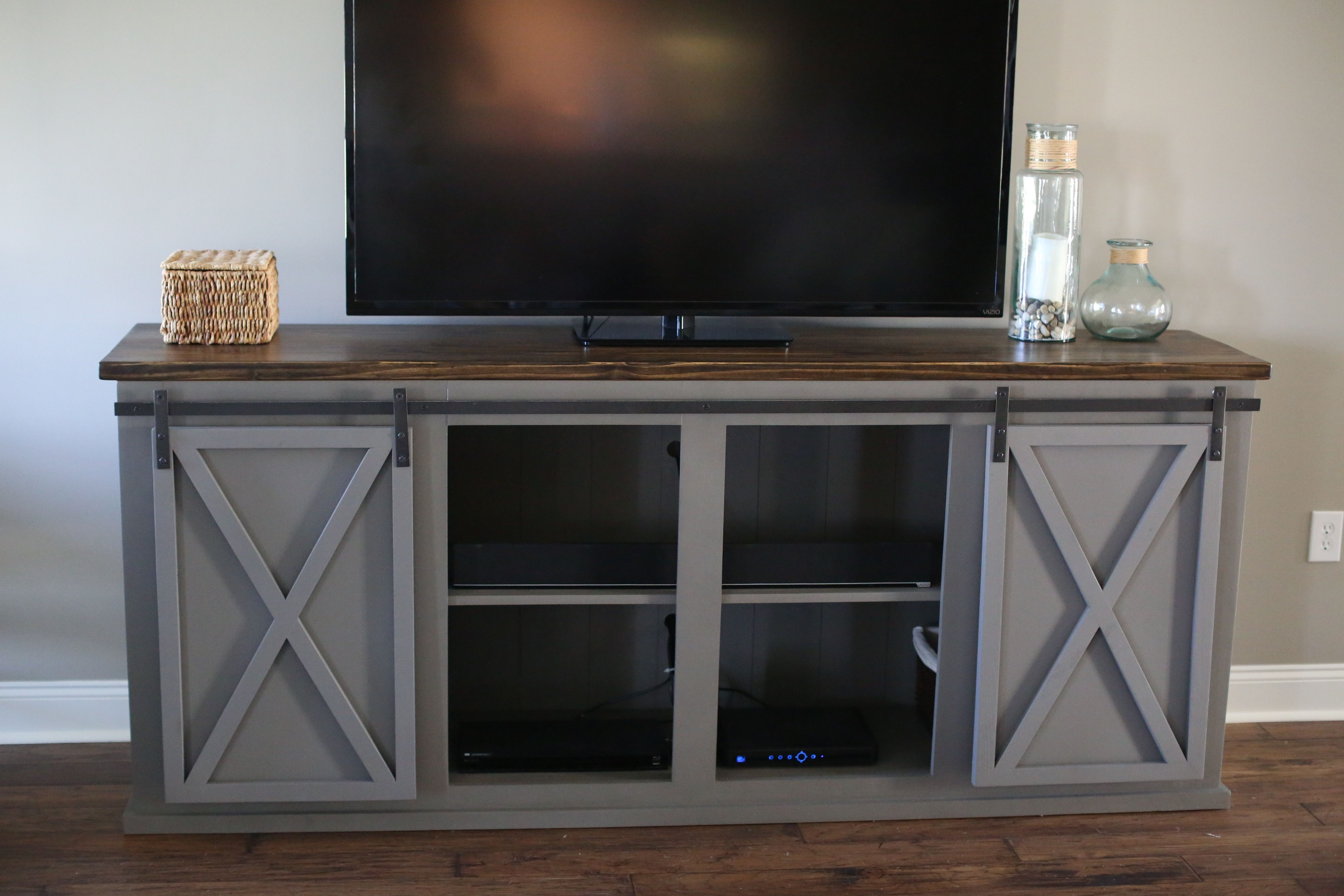 buy a custom made sliding barn door entertainment center made to order from wills woodworks custommadecom - Sliding Barn Door Entertainment Center