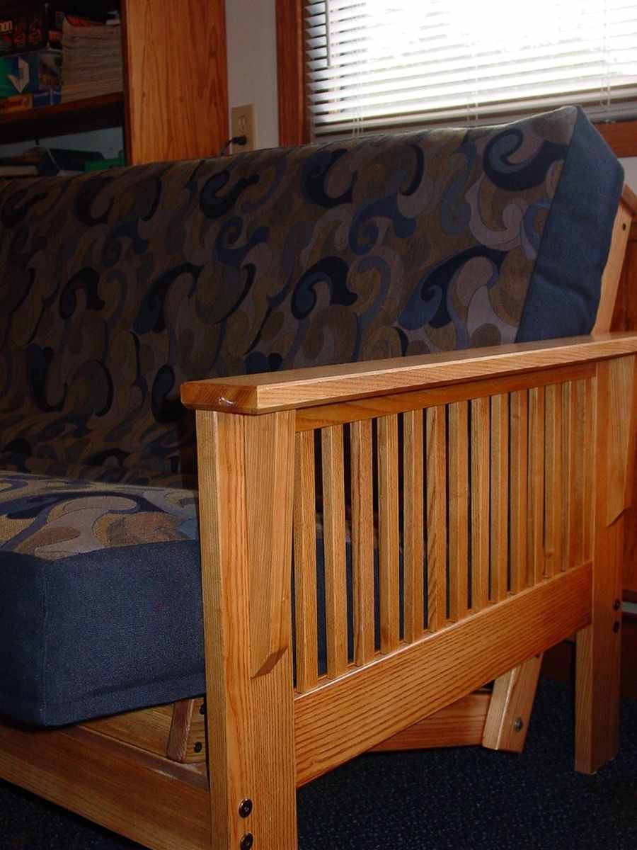Craftsman style futon sofa bed mid century futon amish for Mission style bed frame plans
