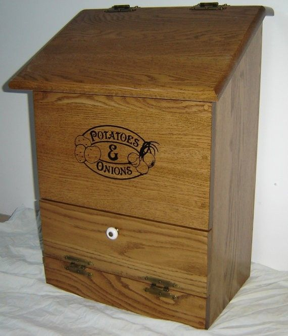 Custom Made New Solid Oak Wood Kitchen Potatoes And Onions Bin By