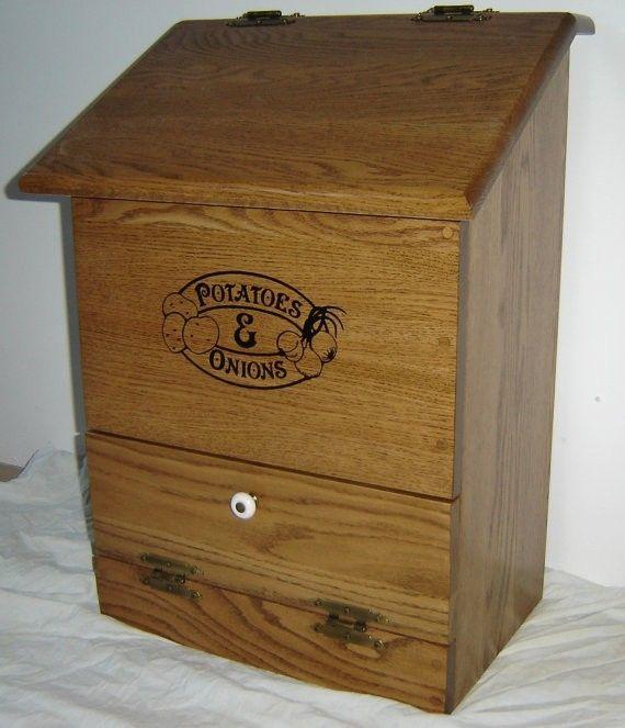 Custom Made New Solid Oak Wood Kitchen Potatoes And Onions Bin By Floyds Shop CustomMadecom