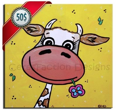 Custom Made Parafa - A Cow Mixed With A Giraffe - Handmade Painting Wall Art, Nursery Art