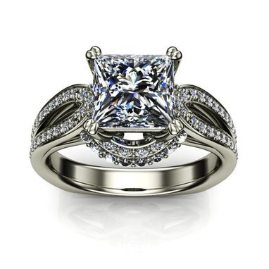 Custom Made Split Loop Cathedral Princess Diamond Engagement Ring