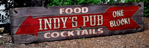 Custom Made Personalized Pub Food & Cocktails Wooden Sign