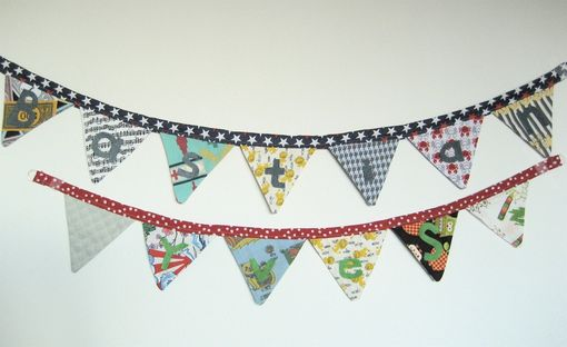 Custom Made Two Custom Name Fabric Buntings. Nursery Decor, Cloth Pennant Flag Banner For Twins Or Siblings.