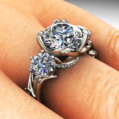 Custom Made Organic Free Form Inspired Three Stone Diamond Engagement Ring