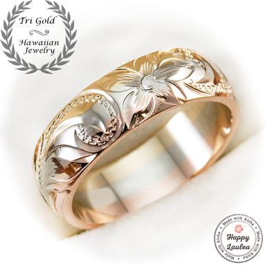 Custom Made 14k Hawaiian Jewelry Tri-Color 6mm Width Ring