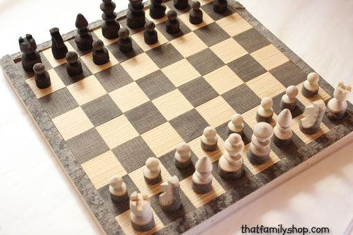Custom Made Rustic Log Chess Set With Board