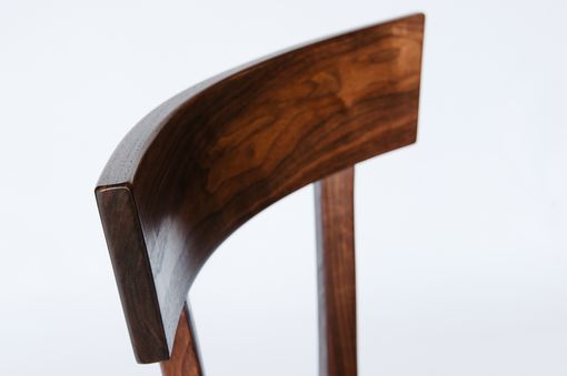 Custom Made Figured Walnut Bar Stool With Leather Seat
