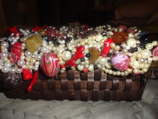 Custom Made Beaded Coral Wicker Basket