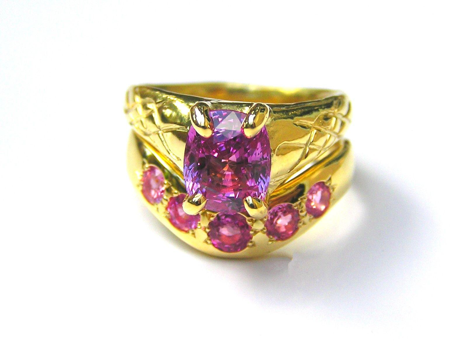 Hand Made Custom Pink Sapphire Wedding Ring Set -Engagement Ring ...