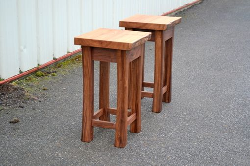 Custom Made Live Edge Elm And Walnut Side Tables With Curved Legs