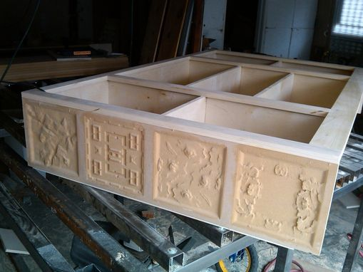 Custom Made Cabinet With Carvings Of Game Terrain.
