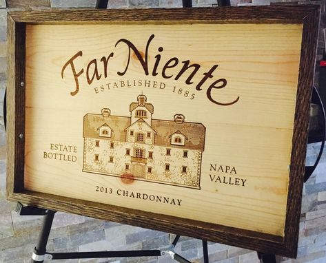 Custom Made Wine Panel Crate Tray Handmade White Oak And Far Niente Chard Lid Serving Tray