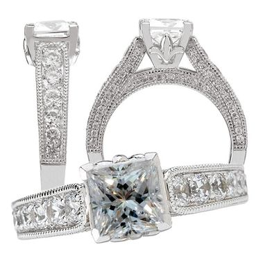 Custom Made 18k White Gold Cathedral-Style Diamond Engagement Ring Semi-Mount Holds 5.5-6mm Princess Cut
