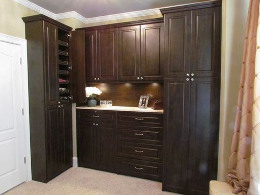 Custom Made Master Closet In Dark Walnut With Granite Top