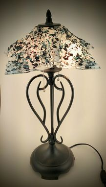 Custom Made Olde Iron Lamp With Fused Glass Shade