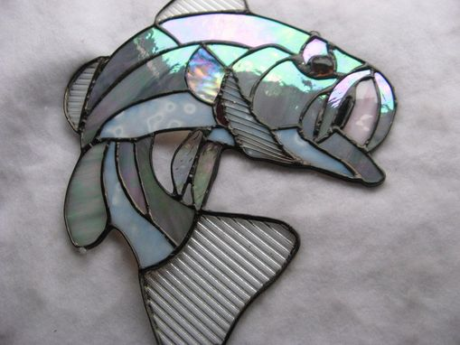 Custom Made Gray Large Mouth Striper Bass Stained Glass Art